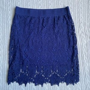 Simply Emma Navy Lace Pencil Skirt